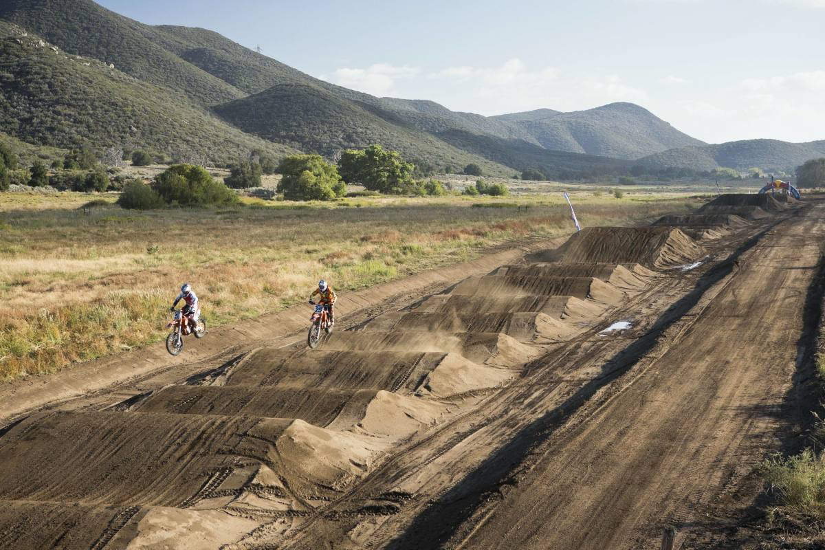 Ryan Dungey and Marvin Musquin take part in a testing session on the Red Bull Straight Rhythm course at Thing Ranch in Alpine, Calif., October 10, 2013.