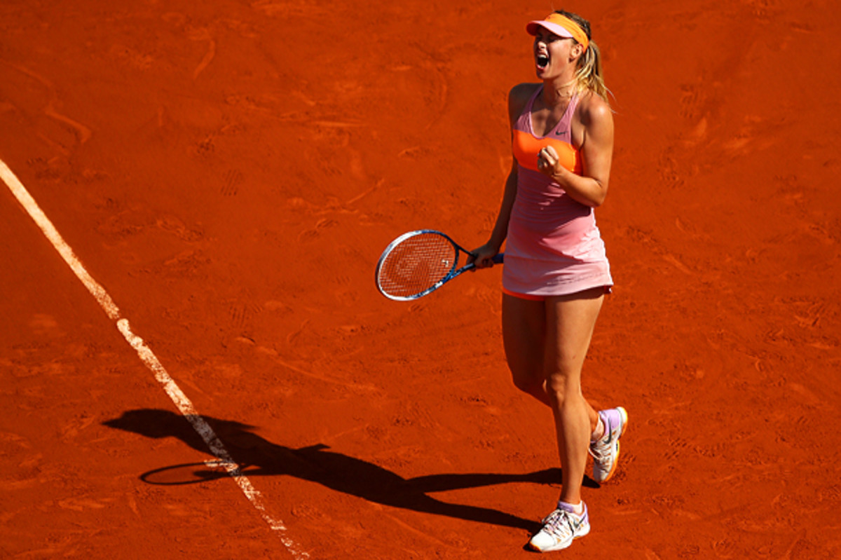 Maria Sharapova clinches her second French Open title. (Clive Brunskill/Getty Images)