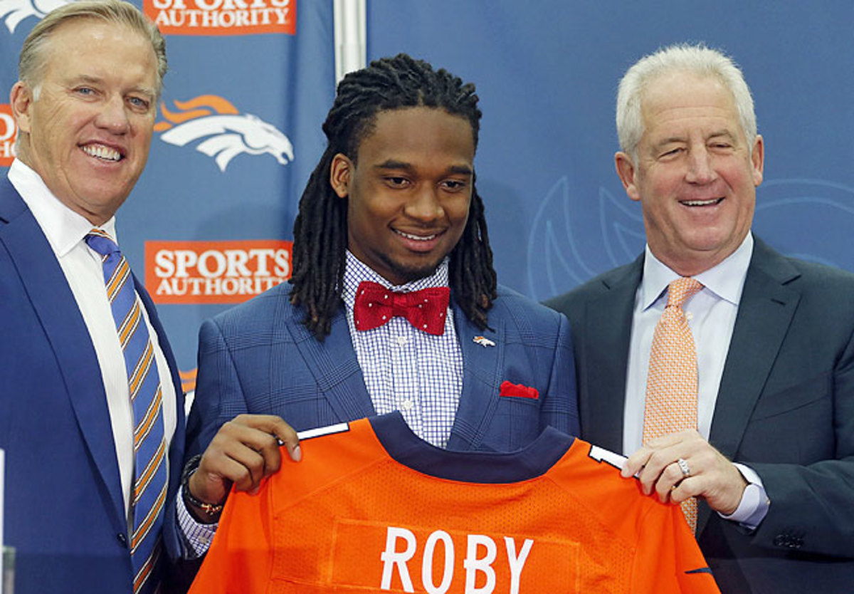 Bradley Roby (center) fell to a contender in Denver, where John Elway and John Fox are pushing for a Super Bowl run.
