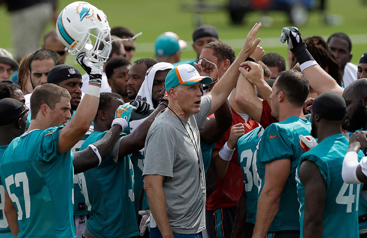 After a 15-17 record his first two seasons, Dolphins coach Joe Philbin enters Year 3 knowing that breaking .500 is paramount to keeping his job. (Alan Diaz/AP)