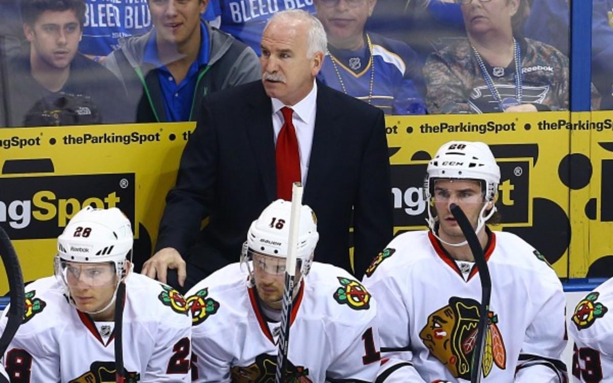 Blackhawkshead coach  Joel Quenneville could face discipline for gesturing towards officials. (Billy Hurst/(Cal Sport Media via AP Images)