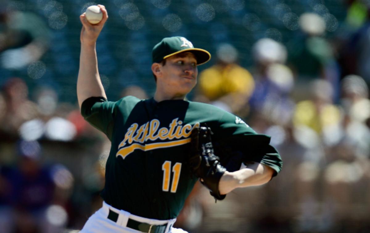 Jarrod Parker had 6.1 strikeouts per 9 innings in 2013. (Thearon W. Henderson/Getty Images)