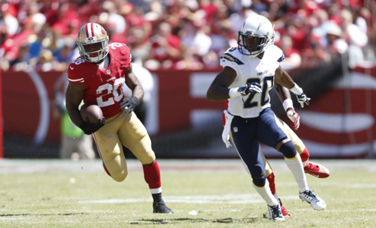 San Francisco 49ers rookie running back Carlos Hyde, left, has breakout potential while backing up Frank Gore.