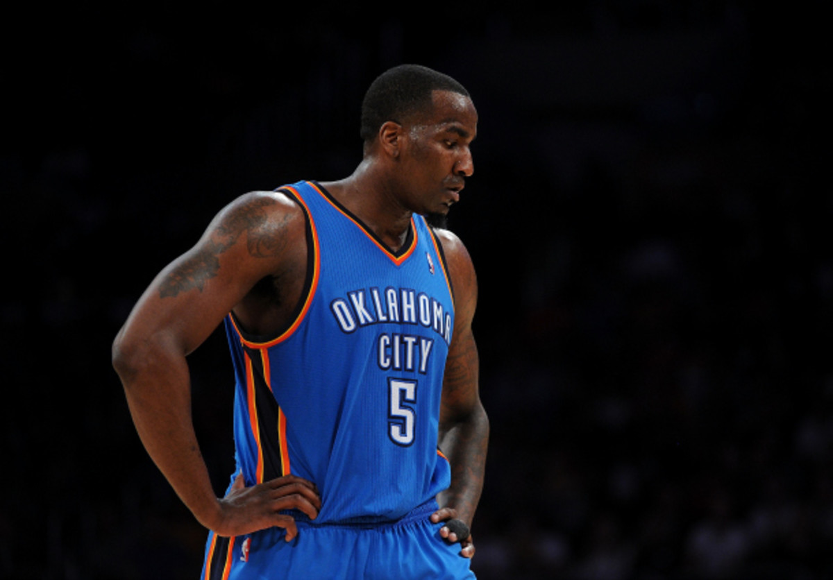 Oklahoma City will have to do without Kendrick Perkins for the next six weeks. (Lisa Blumenfeld/Getty Images)