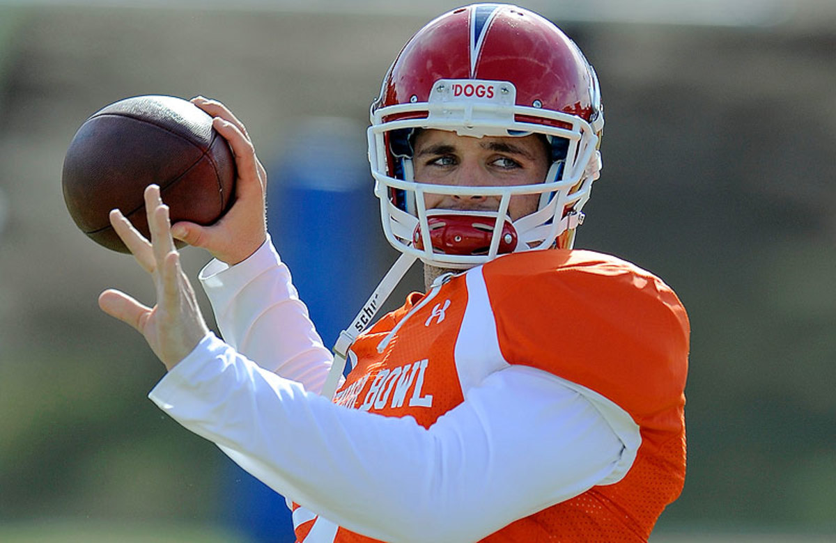 Fresno State quarterback Derek Carr was one of only a half-dozen—at best—potential first-round prospects at the Senior Bowl, which traditionally is a richer environment for scouts to mine. (Stacy Revere/Getty Images)