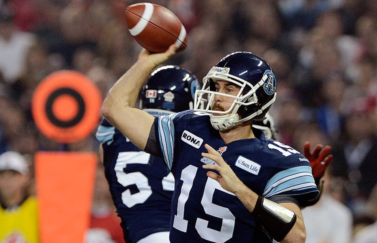 High profile players, like Toronto's Ricky Ray, can make well into six figures, but the average salary of a CFL player is around $80,000 per year. (Sean Kilpatrick/The Canadian Press/AP)