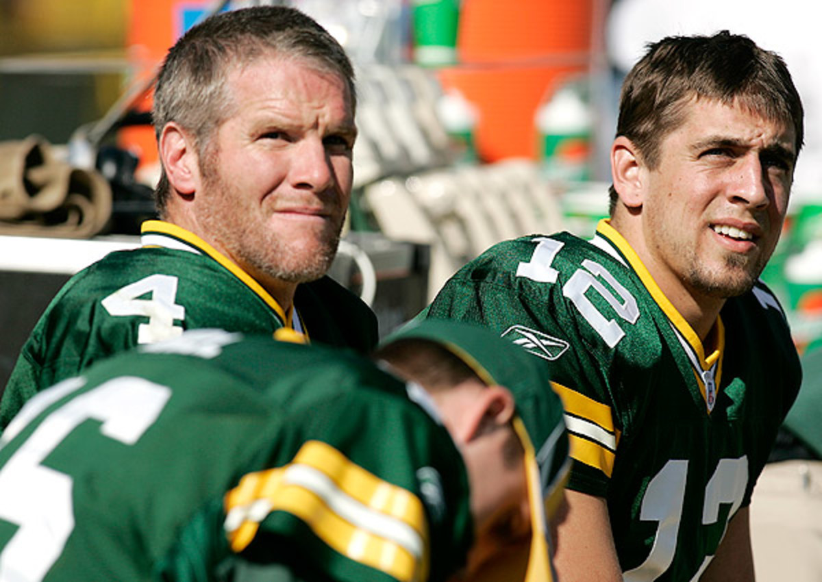 Aaron Rodgers (right) is the starting QB on Brett Favre's fantasy team.