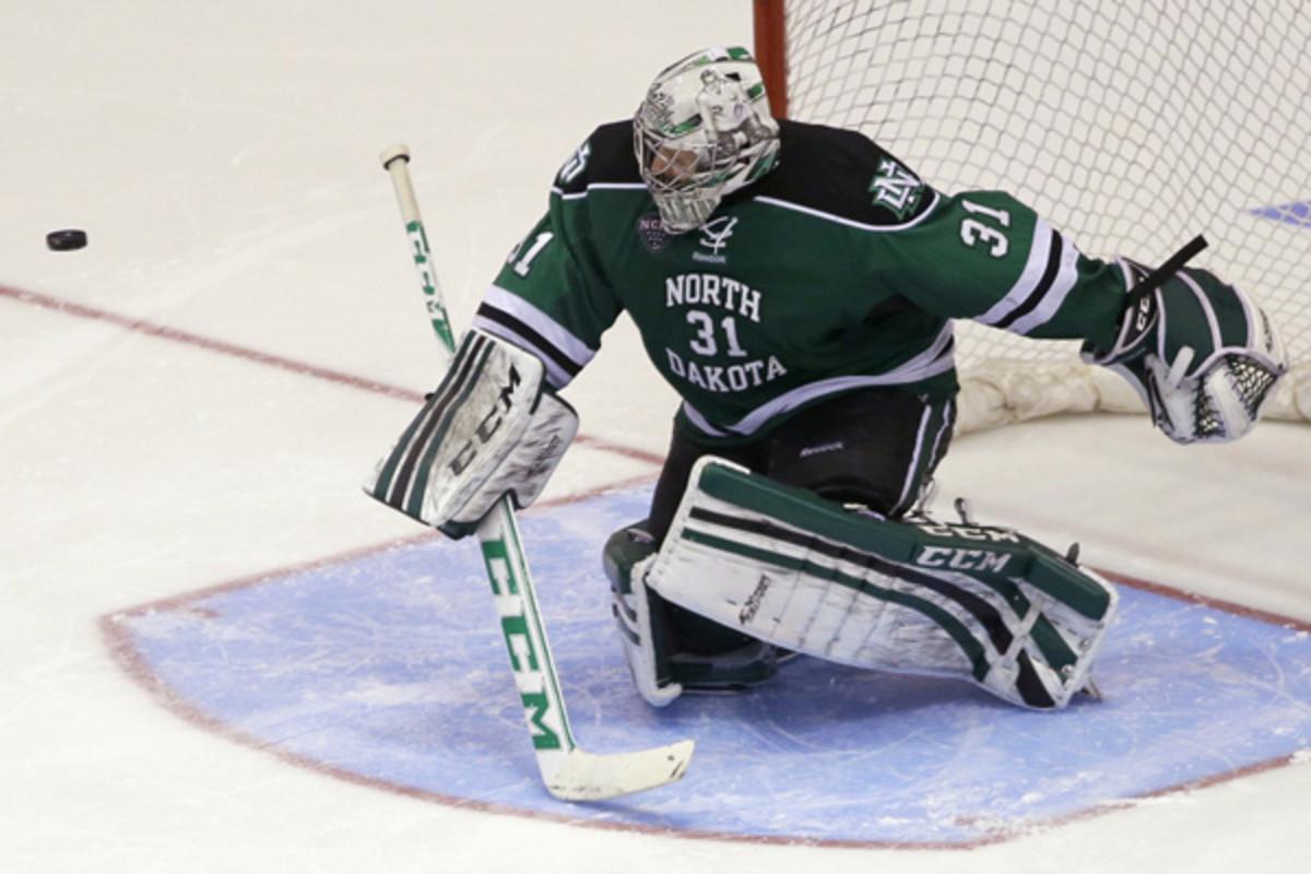 North Dakota goalie Zane Gothberg starred in backstopping the team to the Frozen Four. (Al Behrman/AP)