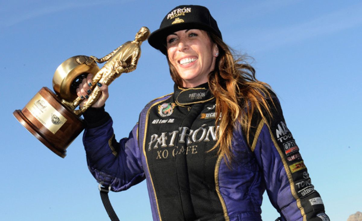 Alexis DeJoria was one of two female winners at the NHRA Nationals, the second time it's happened in history.