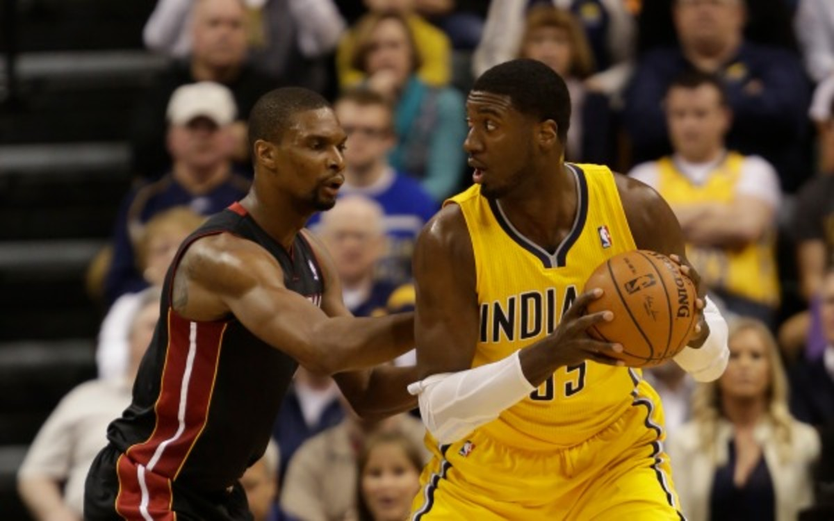 Pacers center Roy Hibbert has scored less than 10 points in four of the last five games. (AP Photo/AJ Mast)