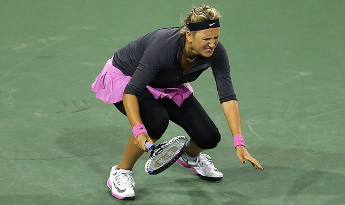Victoria Azarenka struggled with a foot injury during a 6-0, 7-6 (2) loss to Lauren Davis in the first round of Indian Wells. (Jeff Gross/Getty Images)