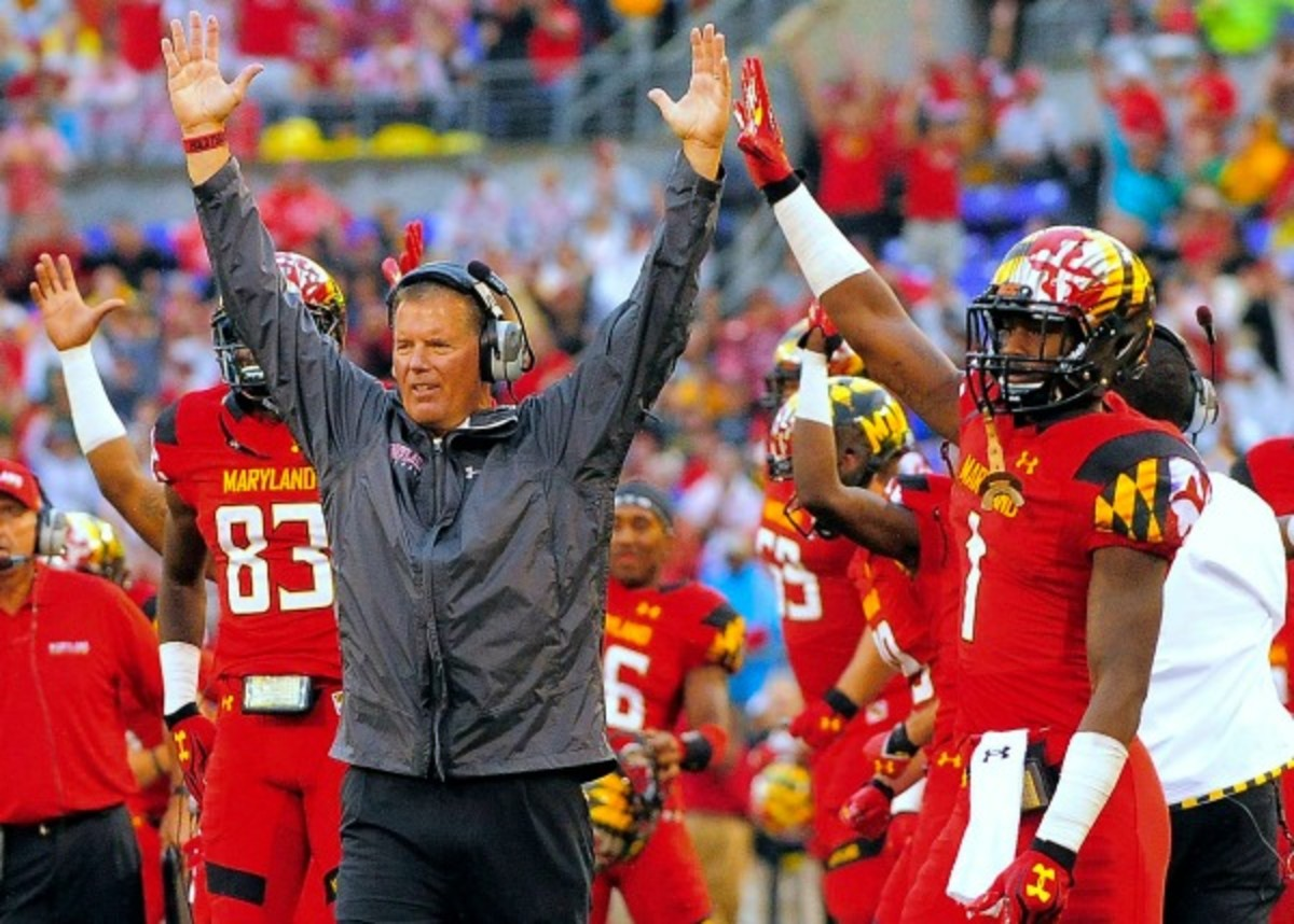 Randy Edsall and Maryland celebrated the school's plans to join the Big Ten.  (Baltimore Sun/Getty Images)