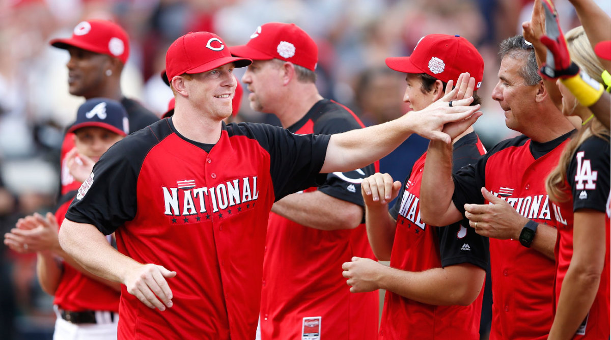 Dalton at the 2015 All-Star Game celebrity softball match in Cincinnati.