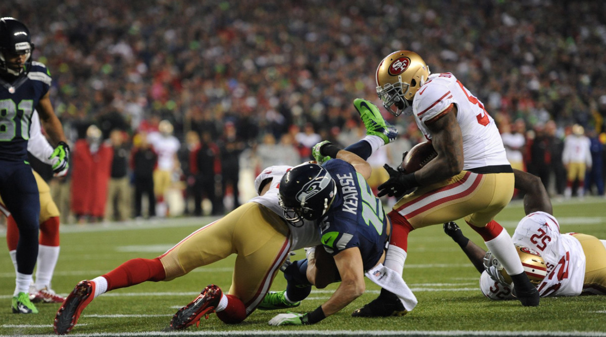Bowman was injured on this tackle in the NFC Championship Game in January 2014 when Jermaine Kearse landed on his planted knee. (Photo: Rod Mar for Sports Illustrated/The MMQB)