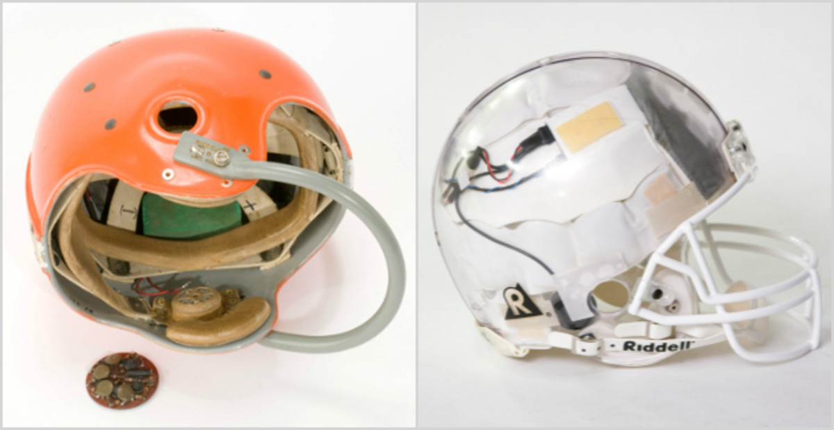 The helmet used by Browns quarterback George Ratterman back in the '50s compared with a modern day version that shows the wiring inside.