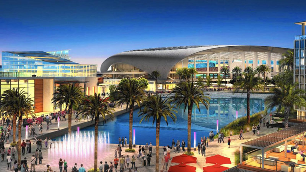 An artist rendering of the planned project in Inglewood, Calif. (Courtesy of the Los Angeles Times)