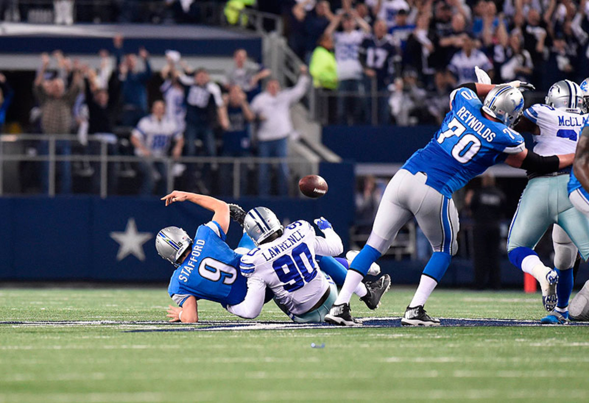 Dallas rookie DeMarcus Lawrence sealed the Cowboys' win with this strip-sack of Matthew Stafford in the final minute of Sunday's game. (Greg Nelson/Sports Illustrated/The MMQB)