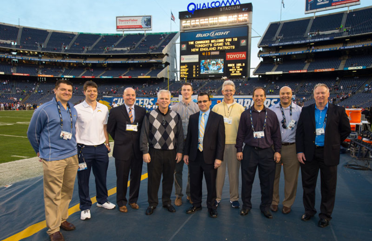 Kevin Kelly (center) and his Chargers staff. (Courtesy San Diego Chargers)