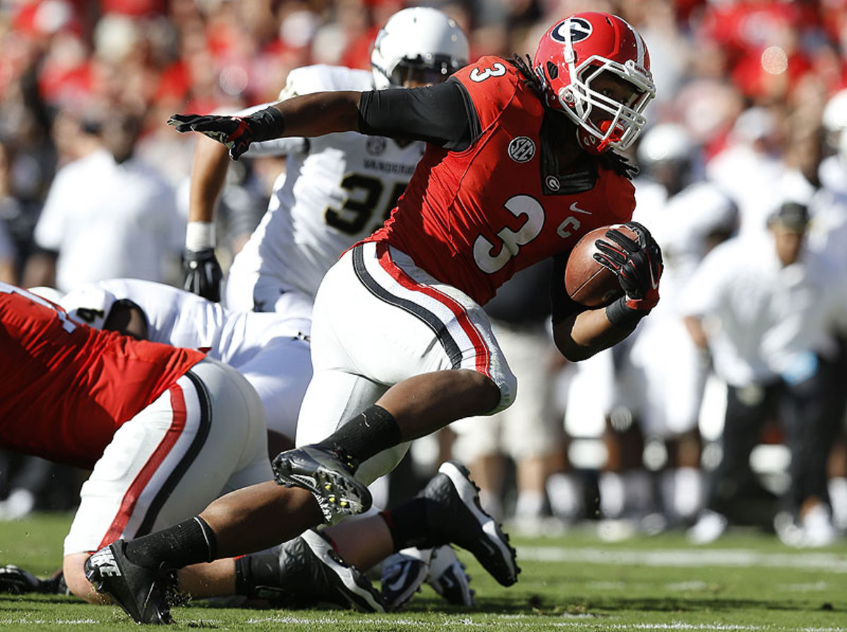 Georgia's Todd Gurley was one of the country's best running backs before a knee injury ended his season. (Mike Zurilli/Getty Images)