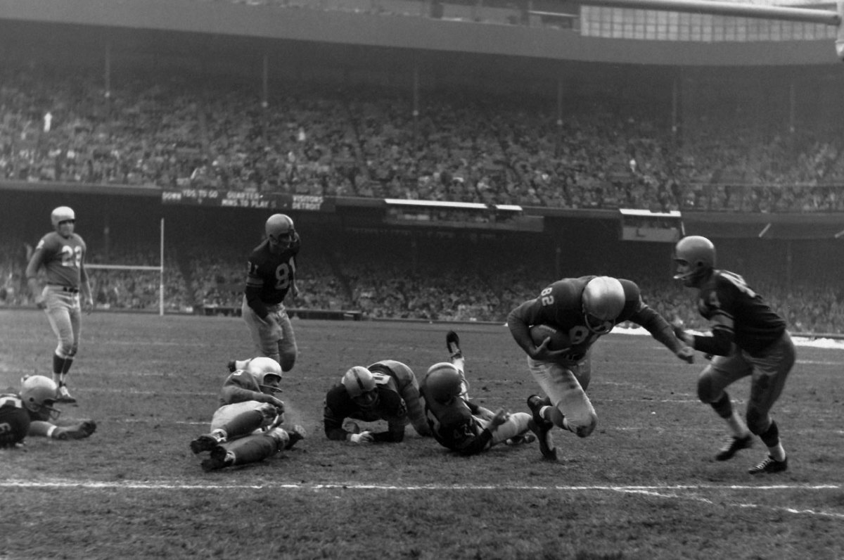 From 1951 to '59, Packers-Lions was the lone Thanksgiving NFL game. Here, the Lions defeat the Pack 18-6 in 1957.