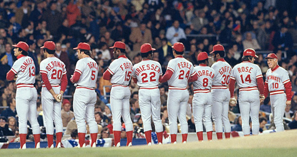 The Big Red Machine won two World Series in 1975 and '76 behind a slew of stars, led by Rose (No. 14).