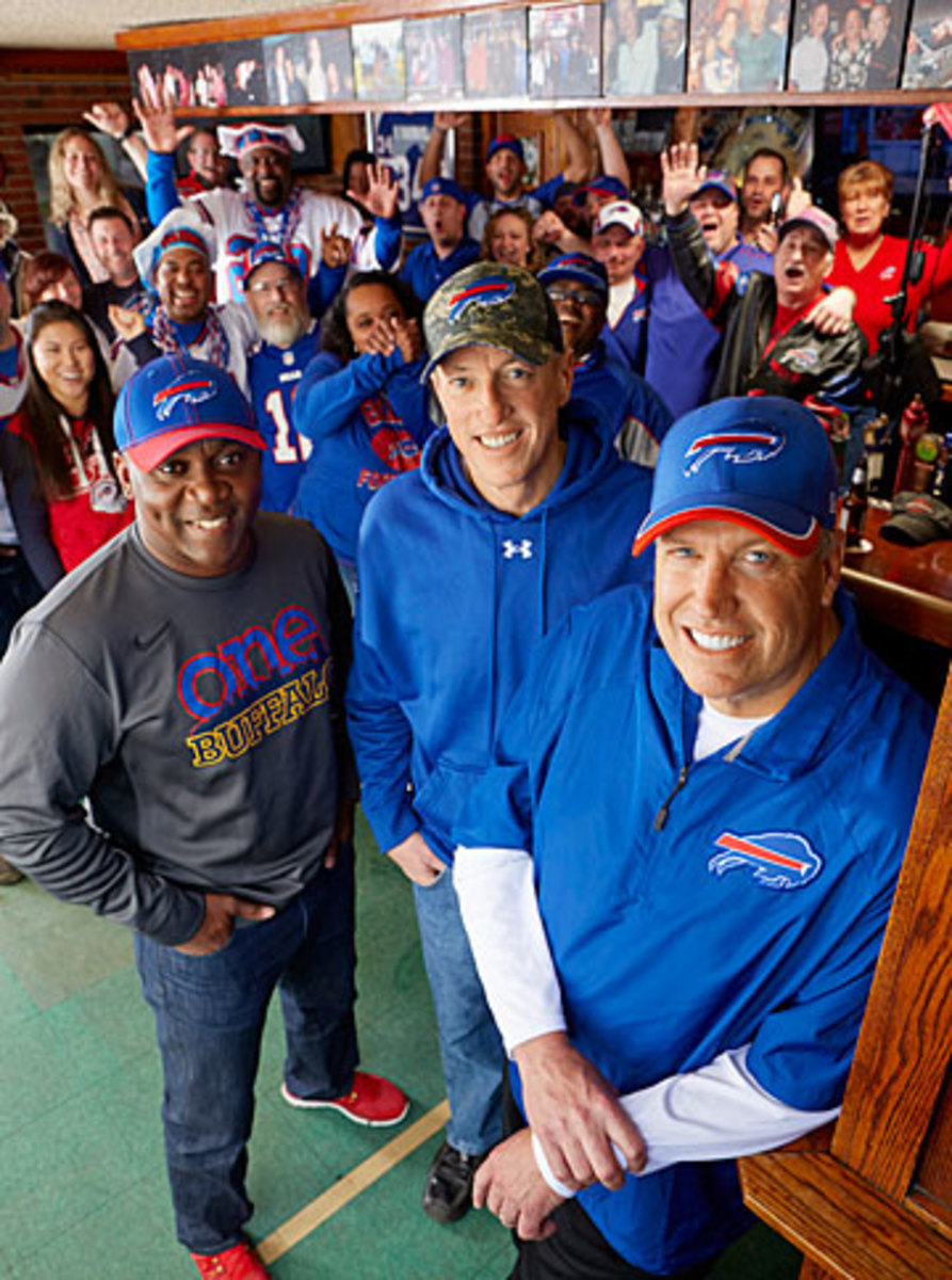 Ryan was joined by Bills legends Thomas and Kelly, and some passionate supporters, at the Big Tree Inn last week. (Clay Patrick McBride for Sports Illustrated/The MMQB)