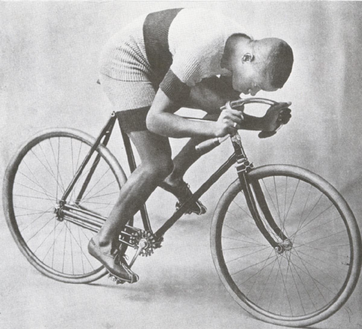 Taylor on the chainless bicycle on which he won the world championship and broke world records in 1899. Uncredited photo, Taylor scrapbook.