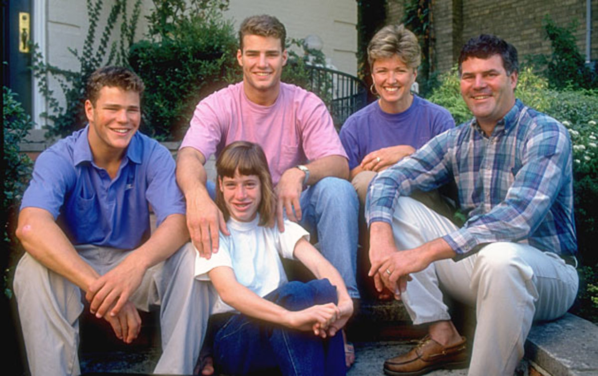 The Lindros family (left to right): Brett, Eric, Bonnie, Carl, Robin (front).