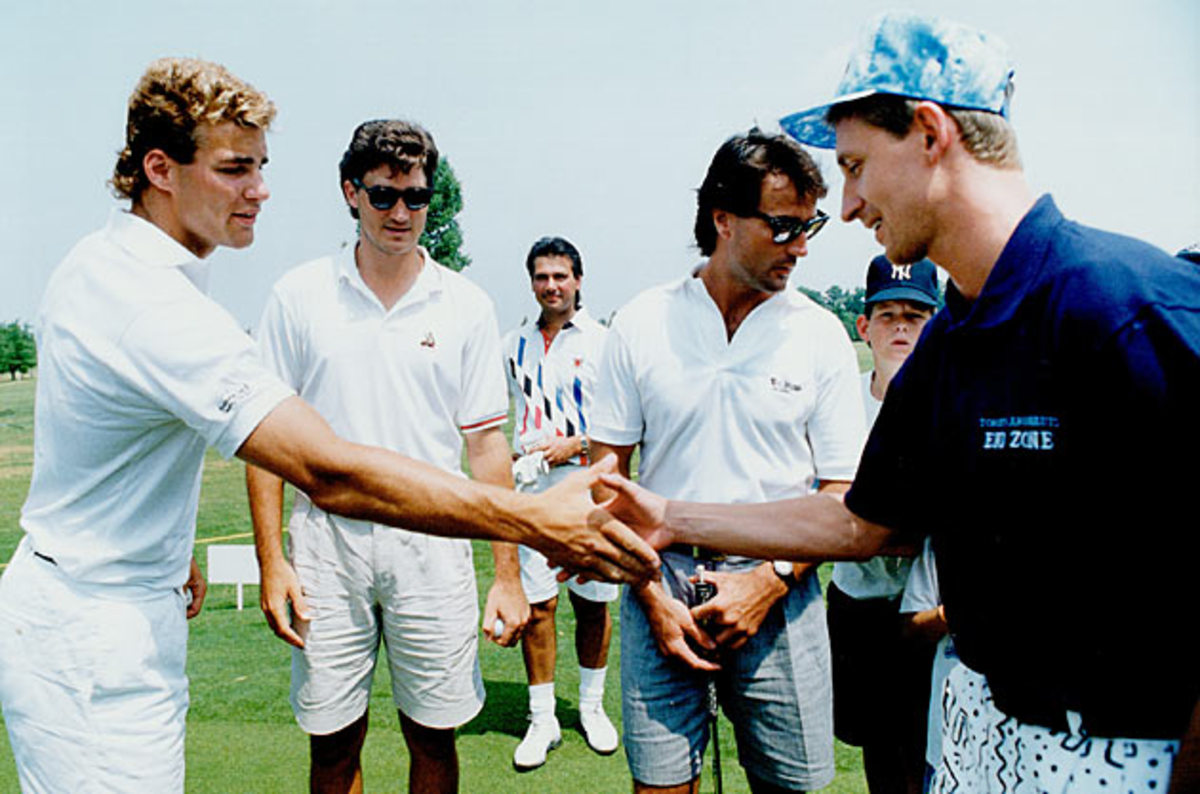 Lindros with Mario Lemieux and Wayne Gretzky in 1991.