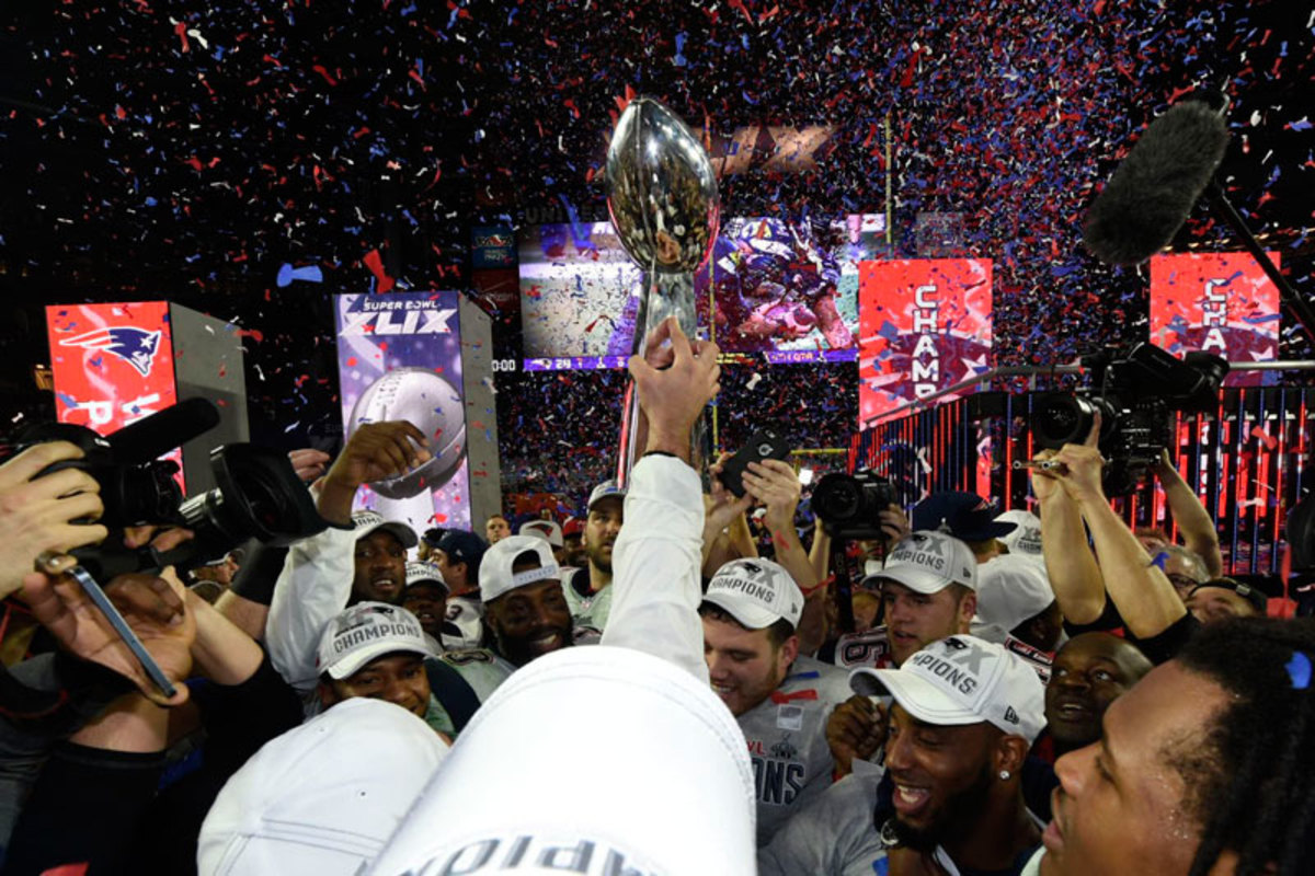 The Patriots have now won four championships, tying them with the Giants and Packers for fourth all time, behind the Steelers (6) and the Cowboys and Niners (5). (Donald Miralle/Sports Illustrated/The MMQB)