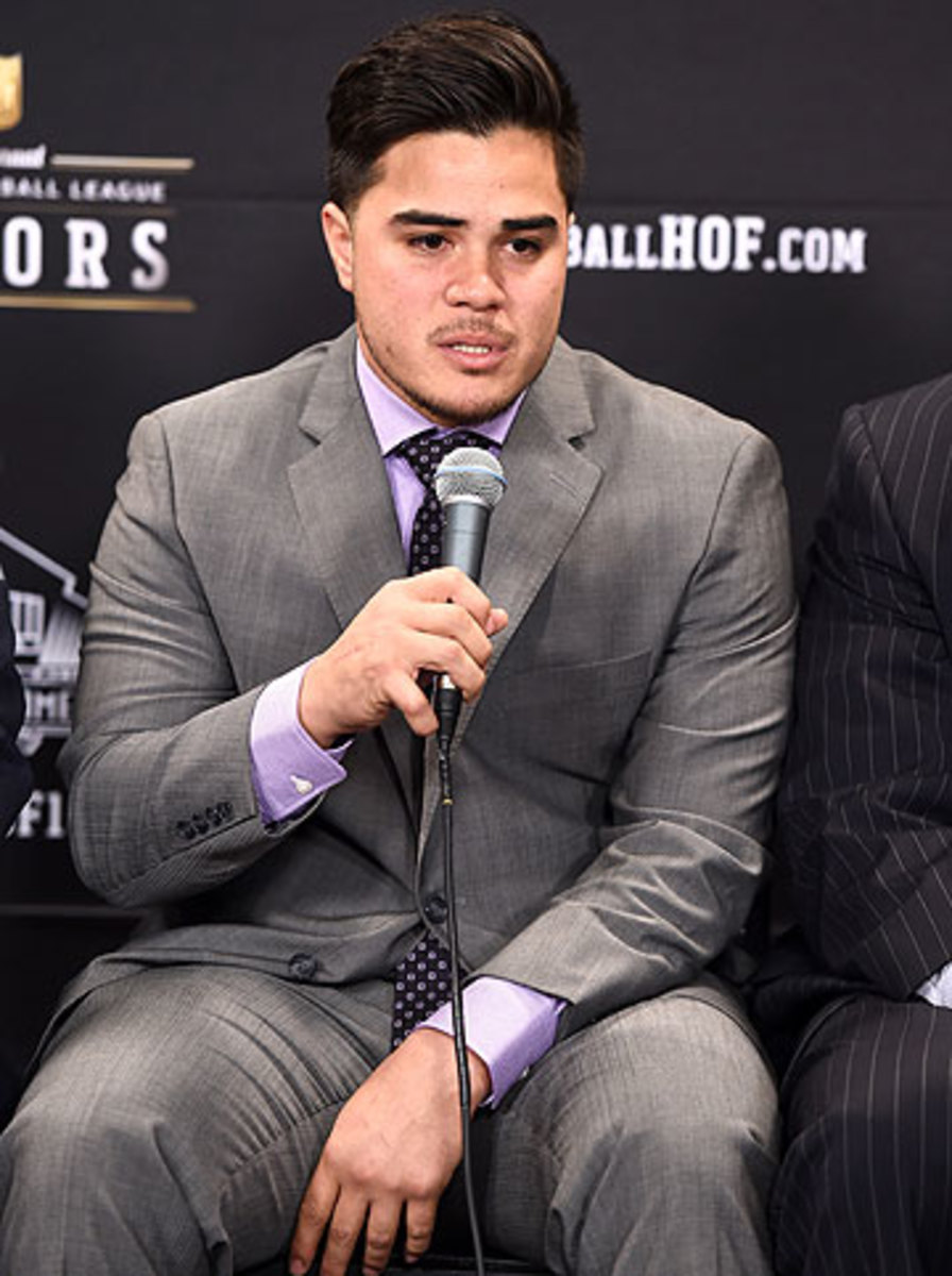 Hunter Seau was in Phoenix on Saturday after his late father Junior Seau was elected into the hall, three years after committing suicide. (Jordan Strauss/AP)