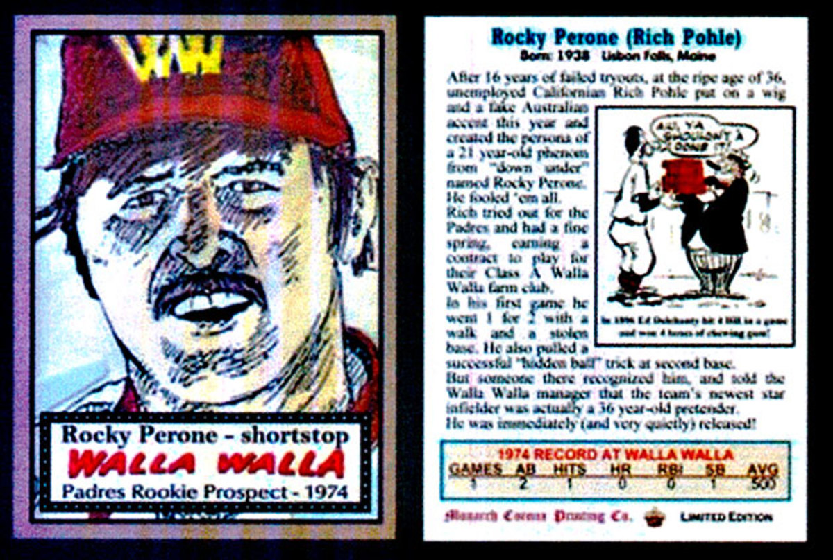 A Rocky Perone baseball card revealed only part of Pohle's story.