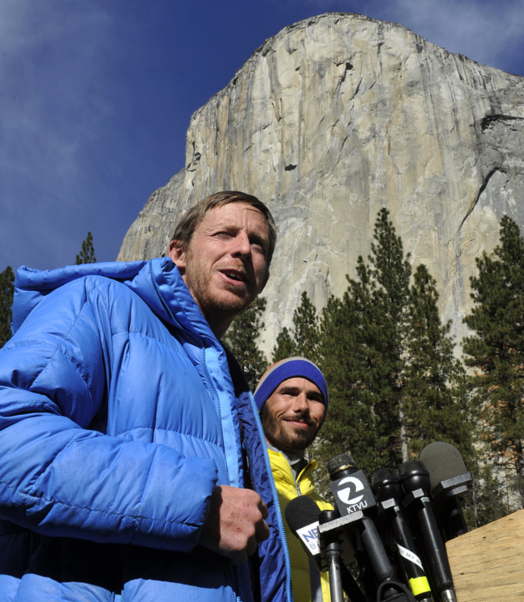 Caldwell and Jorgeson with El Capitan in the background after they completed 19 days of free-climbing.