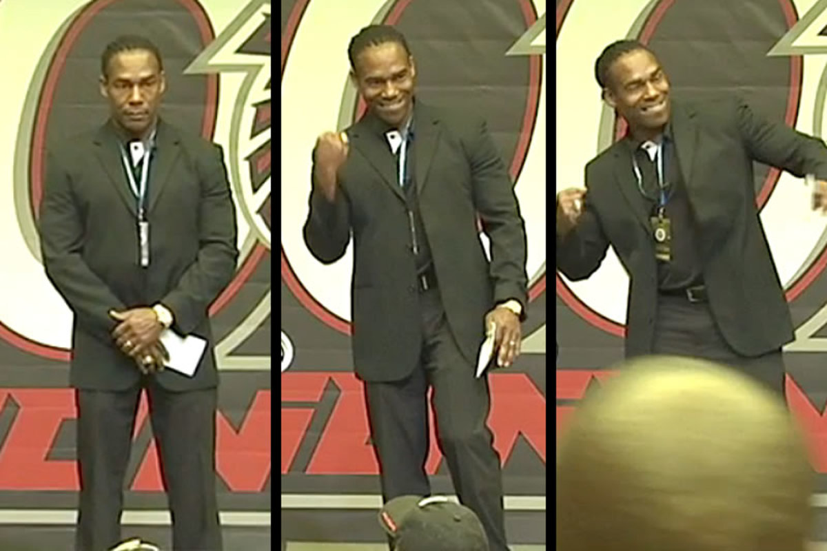 Jessie Tuggle, just before (left) and just after (right, middle) his son was announced as the Falcons' pick.