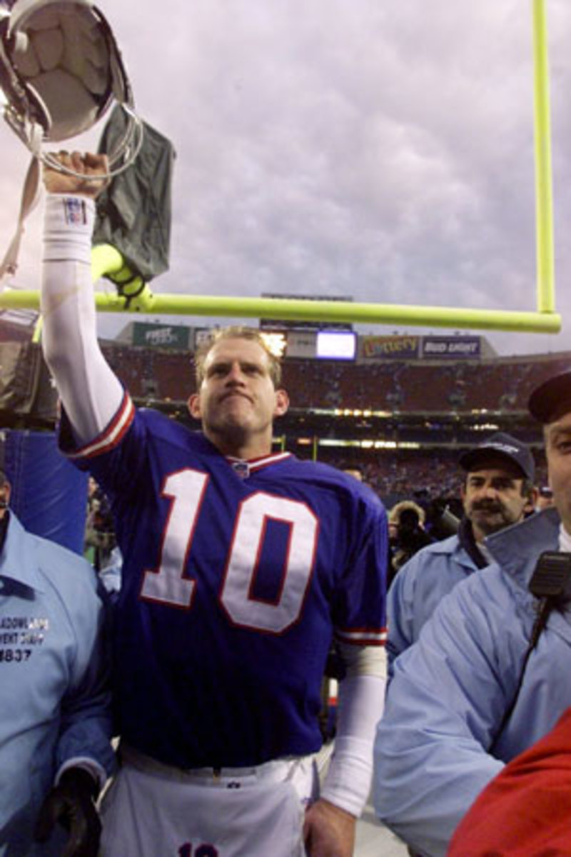 Kent Graham celebrates the Giants' upset win over the Broncos in 1998.