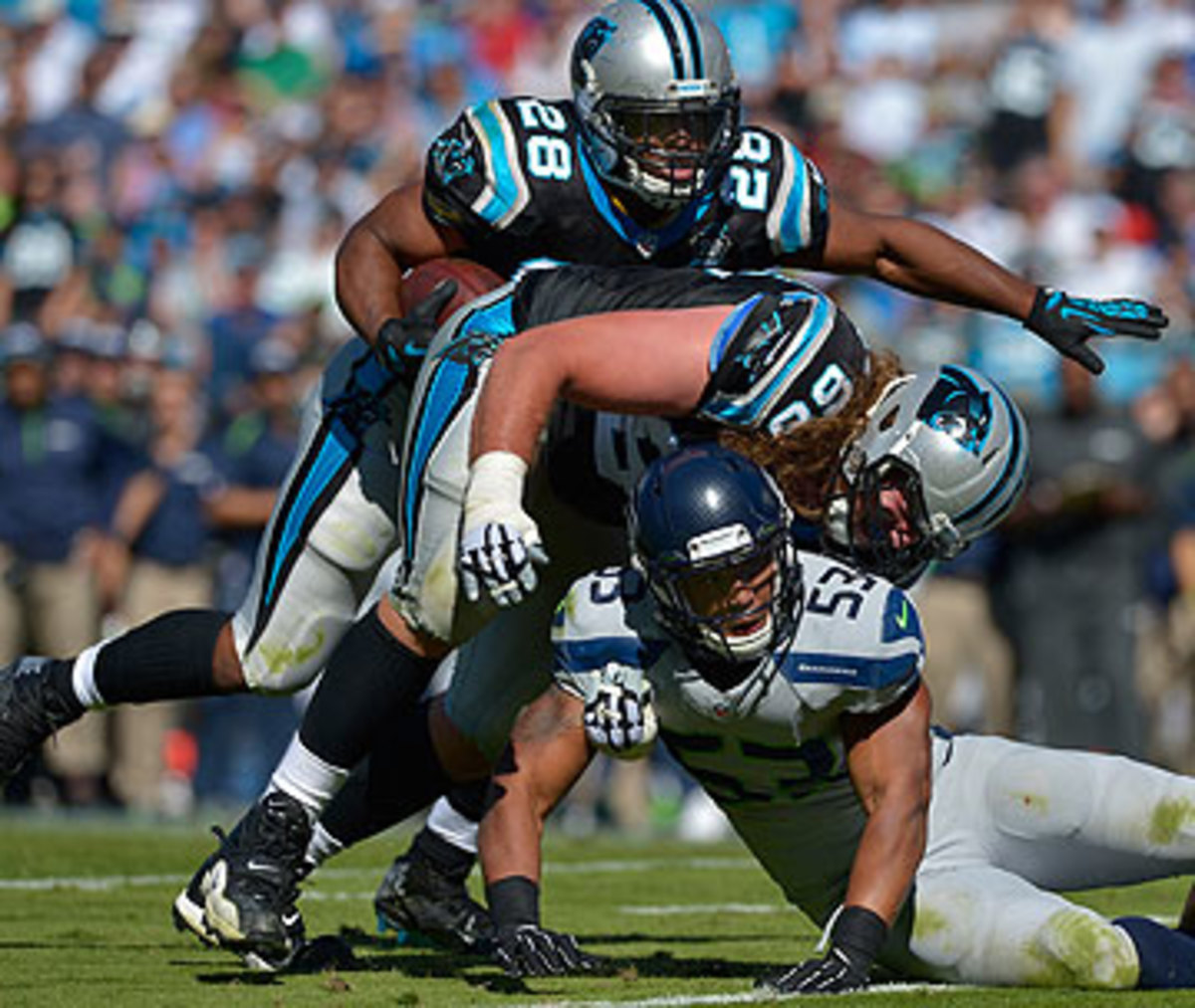 The Jonathan Stewart-led ground game rushed for 114 yards in a 13-9 loss to Seattle in Week 8. (Streeter Lecka/Getty Images)