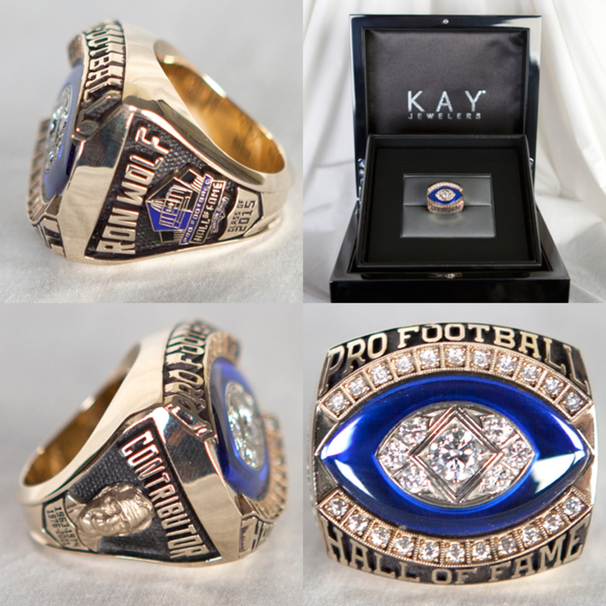 Kay® Jewelers redesigned the Hall of Fame Ring of Excellence in 2013. The Hall of Fame Ring of Excellence is one of three iconic symbols that represent the elite status of being a member of the Pro Football Hall of Fame.