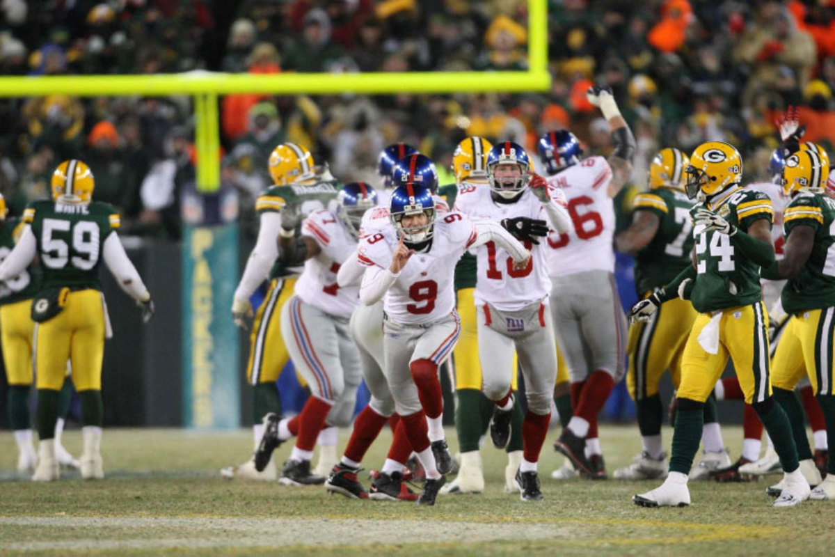 Tynes' 47-yard game-winner in sub-zero temps at Lambeau earned New York a trip to Super Bowl 42, where they upset the Patriots. (Simon Bruty/Sports Illustrated)