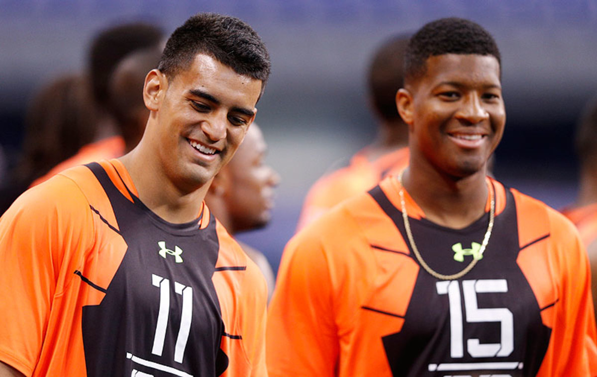 As draft day gets closer, expert opinions remain split on whether Marcus Mariota or Jameis Winston will be the better NFL QB. (Joe Robbins/Getty Images)