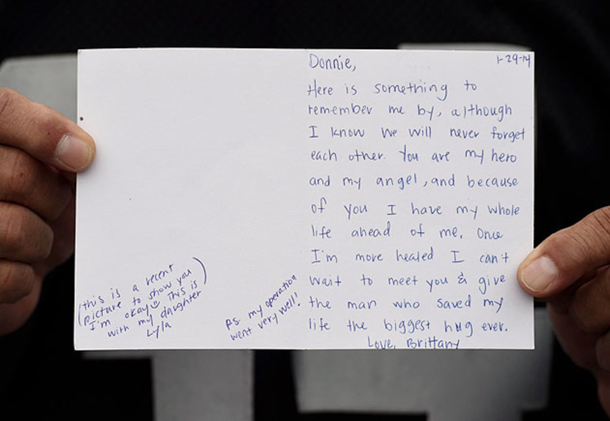Bryan sent Navidad this note two months after her fall.