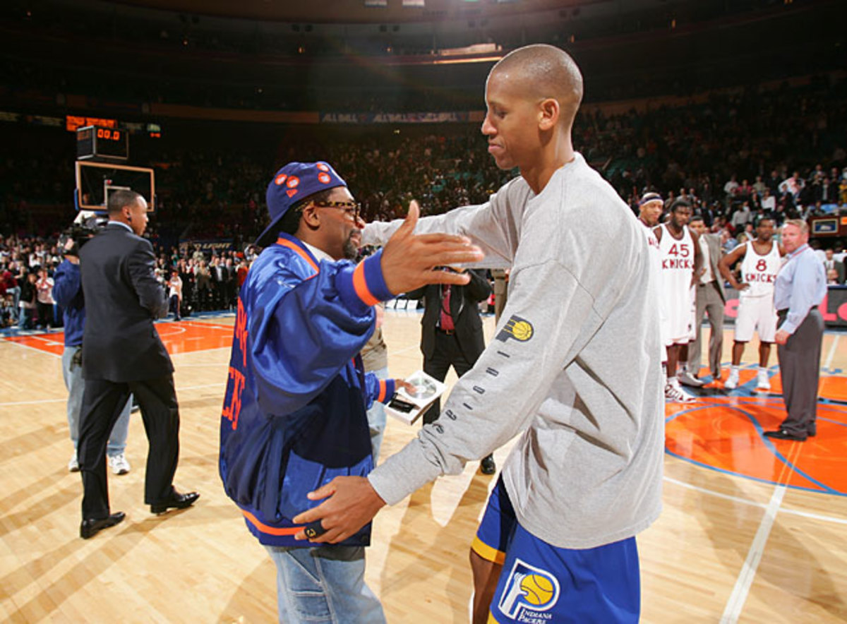 Spike Lee and Reggie Miller
