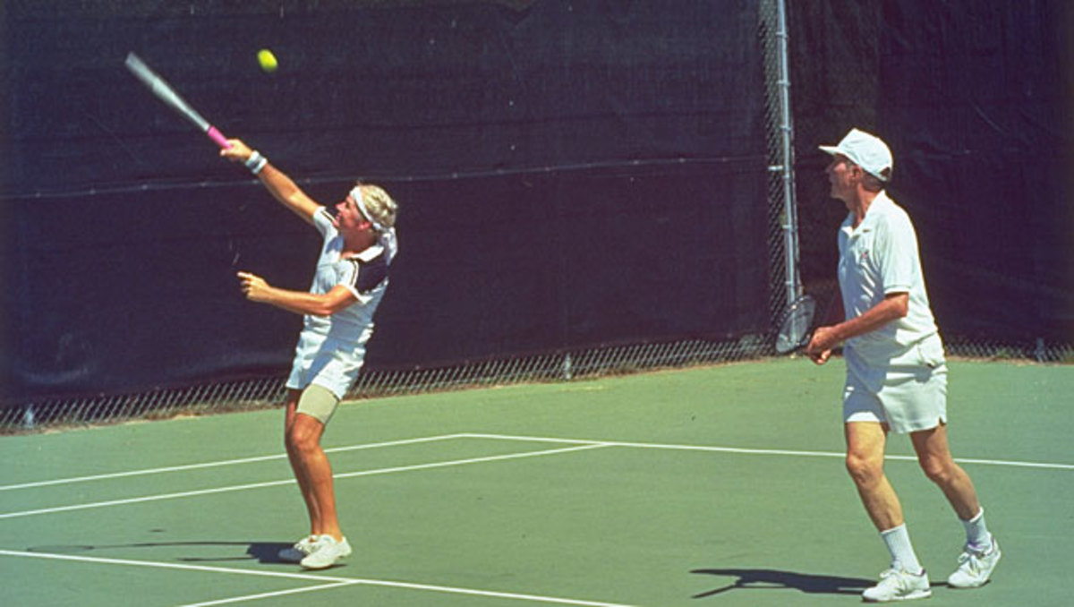 """""""Tennis time"""" couldn't end soon enough for the author after he whiffed this overhead, but Bush told him to """"shake it off."""""""