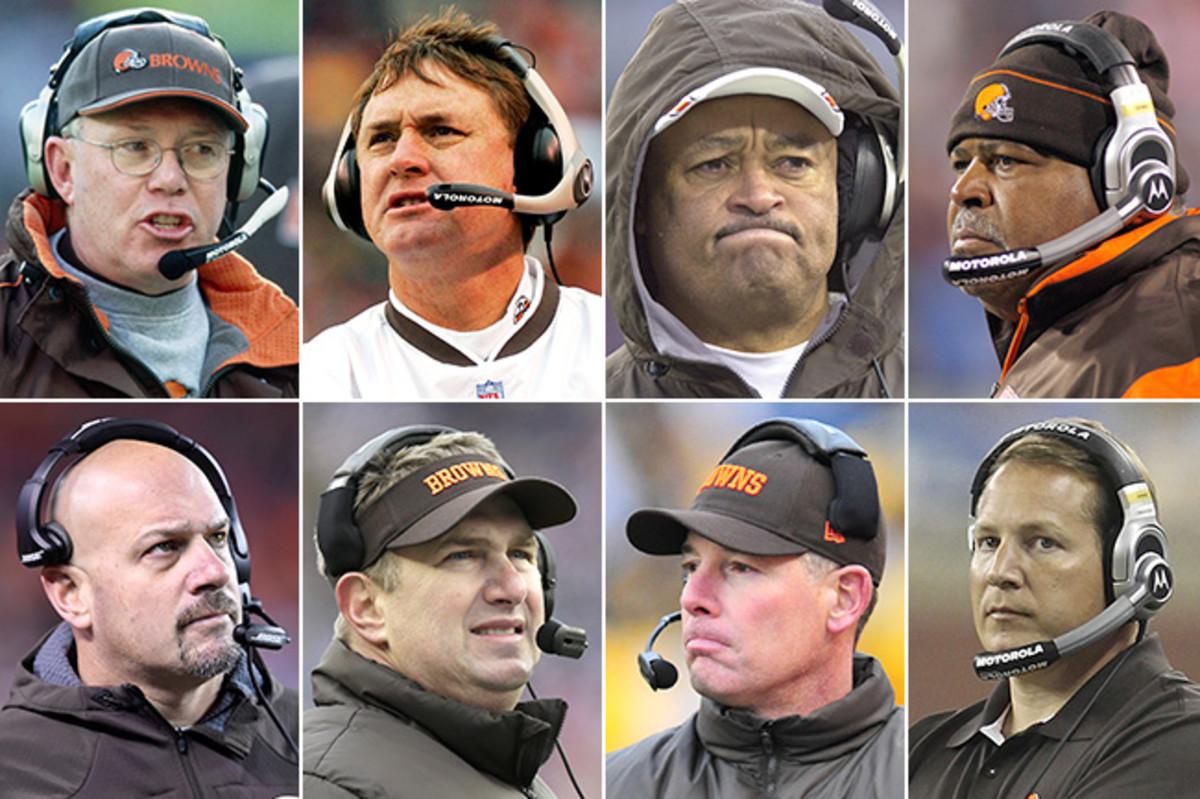 Seventeen seasons of coaches (clockwise): Chris Palmer (1999-2000), Butch Davis (2001-04), Terry Robiskie (interim, '04), Romeo Crennel ('05-08), Eric Mangini ('09-10), Pat Shurmur ('11-12), Rob Chudzinski ('13), Mike Pettine ('14-???)