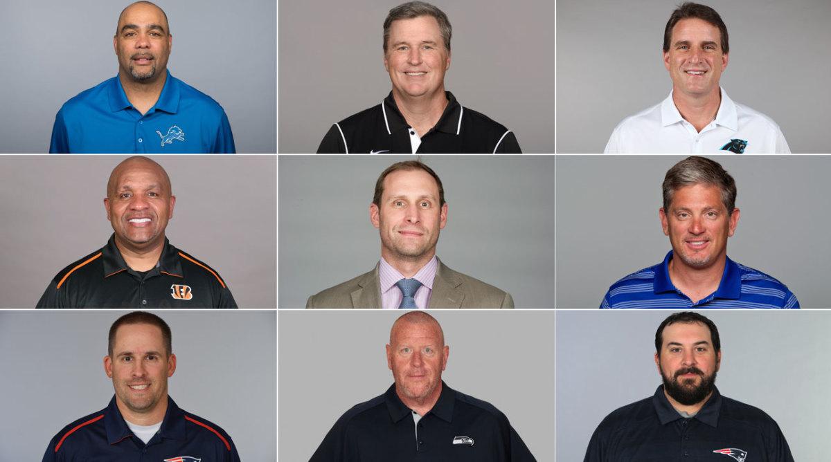 Top Row, left to right: Teryl Austin, Doug Marrone, Mike Shula; Middle Row: Hue Jackson, Adam Gase, Jim Schwartz; Bottom Row: Josh McDaniels, Tom Cable, Matt Patricia.