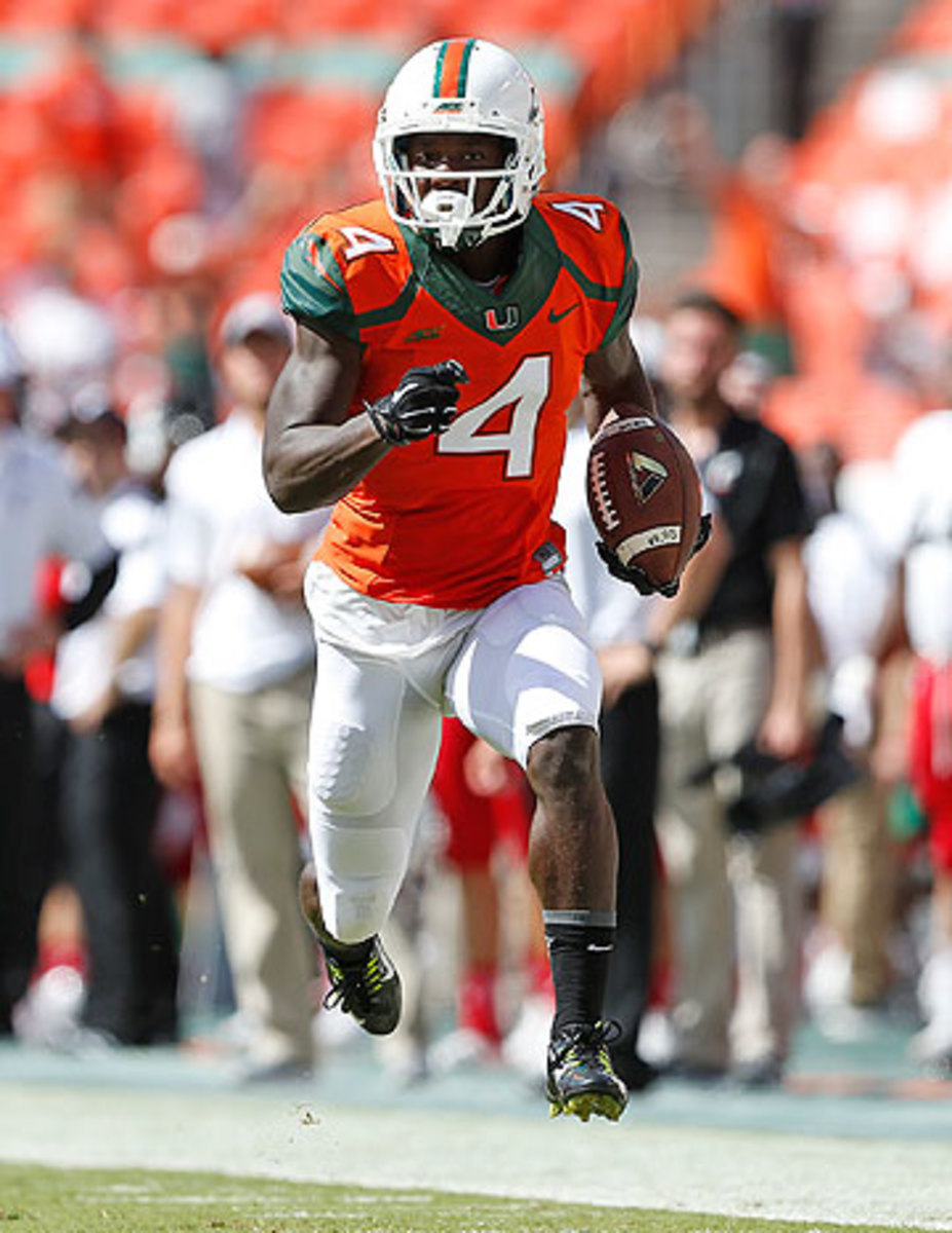 Phillip Dorsett, considered one of the fastest prospects in the draft, also ran track at Miami. (Joel Auerbach/Getty Images)