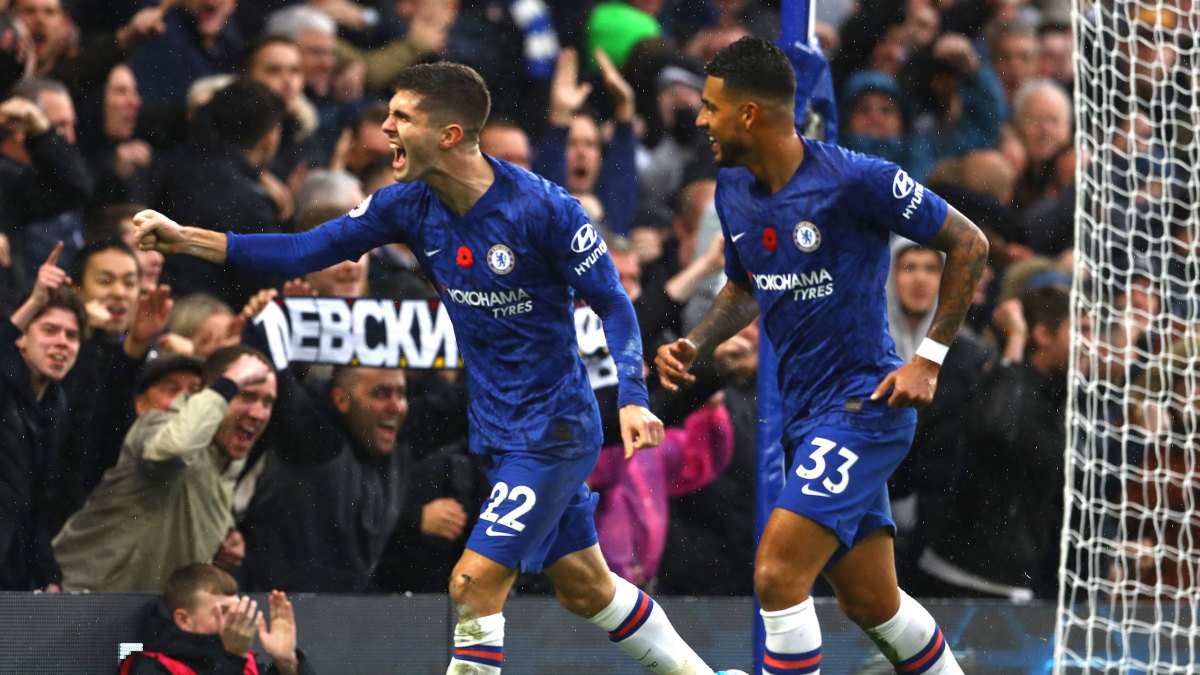 Christian Pulisic celebrates his goal for Chelsea against Crystal Palace.