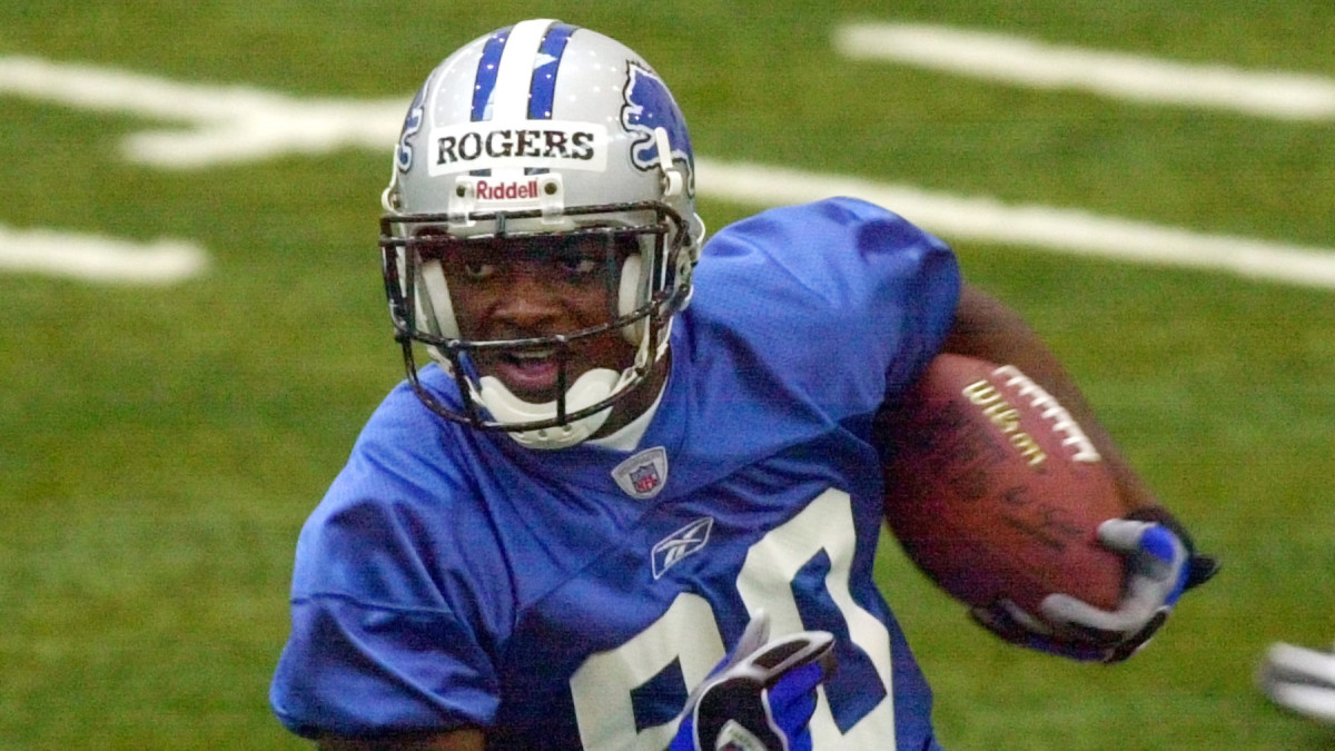 Former Lions receiver Charles Rogers at practice