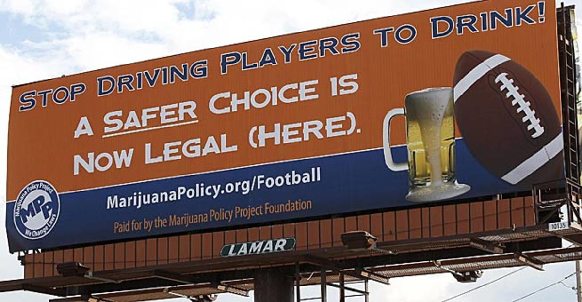 This billboard at the season opener urged the NFL to loosen its policy on marijuana use by players.