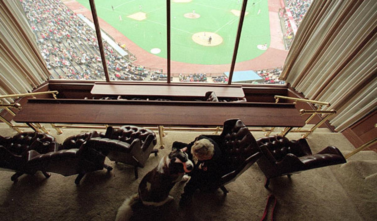 Marge Schott watching game
