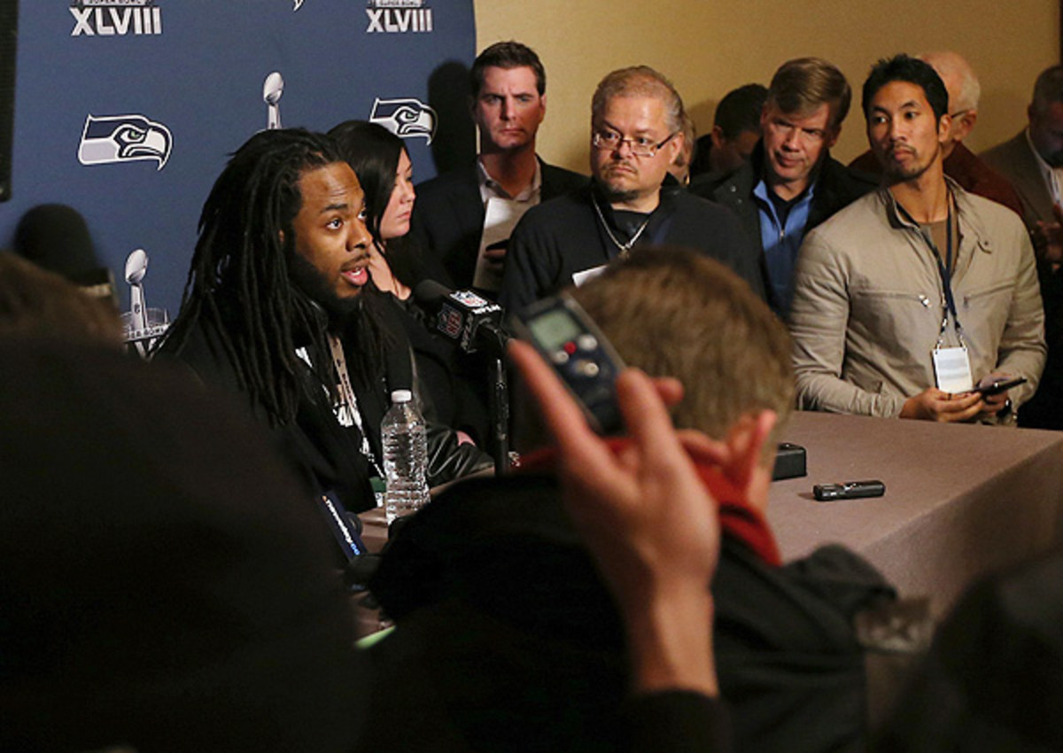 Richard Sherman exercised restraint in his first Super Bowl media session. Will he follow suit on Media Day?